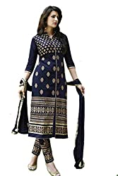 Navy Blue Cotton Designer Salwar Suit