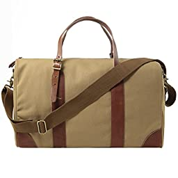 S-ZONE Canvas Leather Trim Travel Tote Duffel Shoulder Handbag Weekender Bag Khaki