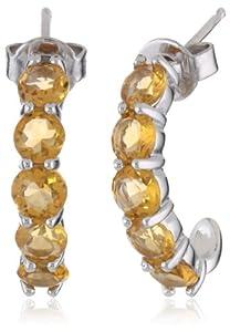 """Sterling Silver Round Citrine """"J"""" Hoop Earrings"""
