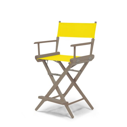 Telescope Casual World Famous Counter Height Director Chair, Rustic Grey With Canary Canvas Fabric