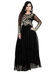 Shree Sanskruti Womens Net Gown (yupu-11004_Black_Free Size)
