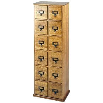LDE LESLIE DAME Leslie Dame CD-228 Solid Oak Library Card File Media Cabinet, 12 Drawers, Oak