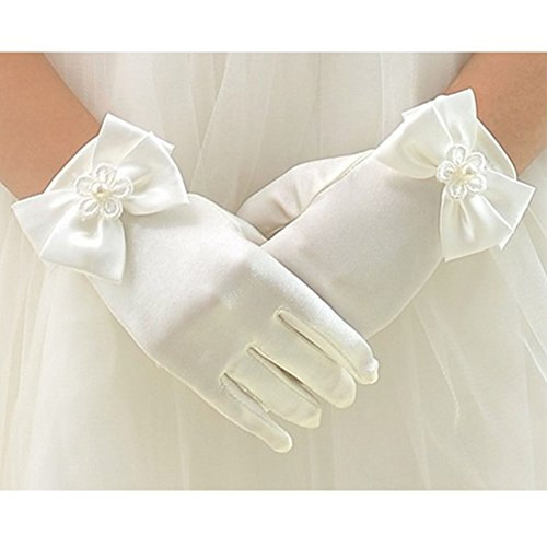 Tandi Favorite Girls Gorgeous Satin Fancy Stretch Dress Formal Pageant Party Gloves (Large, Beige)