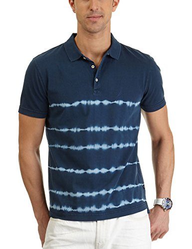 Nautica Men's Tie Dye Stripe Polo Shirt, Total Eclipse, XX-Large