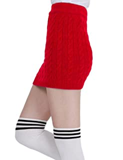 Doublju Kink Cable Knit Micro Mini Skirt RED (US-S)