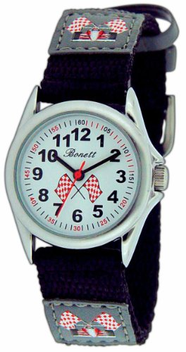 Club Children`s / Boy`s Black leather Strap Watch With Black Dial