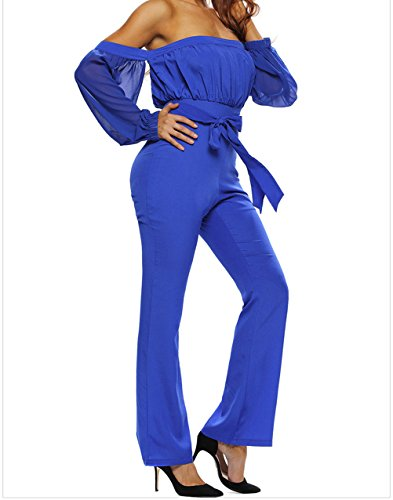 YeeATZ Women's Blue Tie Waist Long Sleeve Off Shoulder Jumpsuit(Size,S)
