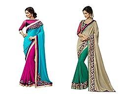 Pragya creations Women's Chiffon Saree (Prag18_Multi)-pack of 2