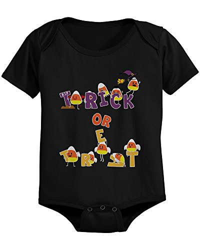 Trick or Treat Cute Candy Corn Baby Bodysuit Infant Black Onesie for Halloween