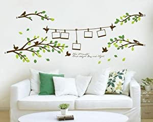 OneHouse Picture Frames and Birds on Branches of Trees Decal for Sofa Wall Decor by OneHouse