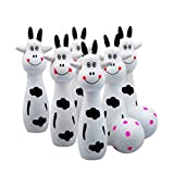 Baby Bowling Toy YIFAN Cute Infant Toy Set Mini Cartoon Wooden Bowling Ball Toy Set for Children Preschool Kids Toy Little Cow