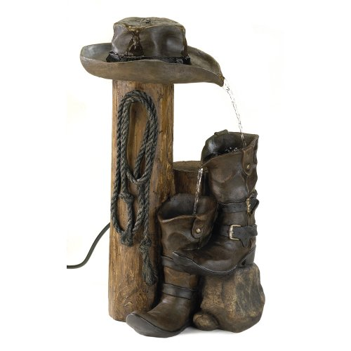 Wild Western Rustic Cowboy Hat Boot Water Fountain (Fisher And Paykel Water Pump compare prices)