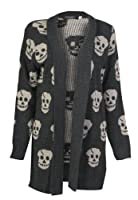 Forever Women's Skull Print Knitted Open Cardigan (ML-10/12, Charcoal)