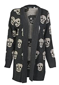 Forever Women's Skull Print Knitted Open Cardigan (SM-6/8, Charcoal)