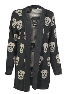 Forever Women's Skull Print Knitted Open Cardigan (ML-10/12, Charcoal)