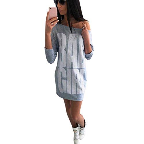"""Reasoncool Le donne di autunno di modo di stampa del mini vestito sexy (S -Busto: 33,1 """", grigio)"""