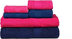 Trident 2 Large Bath , 2 Hand And 2 Face Towels Set Of 6 Pcs-Midnight Blue & Hot Pink