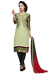 Vibes Womens Cotton Patch Work Straight Dress Material (V279-1003 _Green _Free Size)