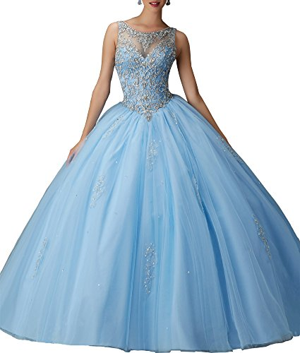 Alinafeng Dress Girls' Ball Gown Beads Prom Quinceanera Dress 2016(4,Blue) (Blue Quinceanera Dresses compare prices)