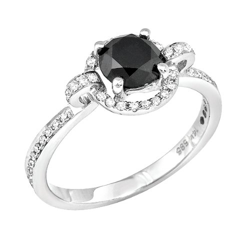 1.73 CT Black Round Center Diamond and 0.45ct Melee in 14K WGD Ring, Size 7.25. Black Center Clarity: White (GH) Treatment code N Melee Clarity: SI1-2. 4.81 gram setting. Treatment codes: Black Center:, Melee: N.