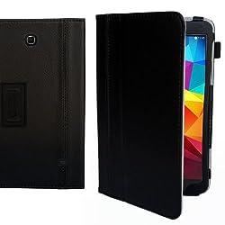 Gizmo Dorks 2-Tone PU Leather Book Folio Case Cover w/ Stand for Samsung Galaxy Tab 4 8.0 Inch SM-T330 T331 T335 (Black)