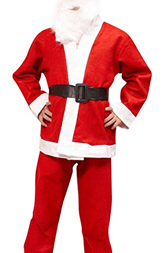 YS Boy's Christmas Santa Claus Costume Jacket+Pant Suits with Hat Berad Red