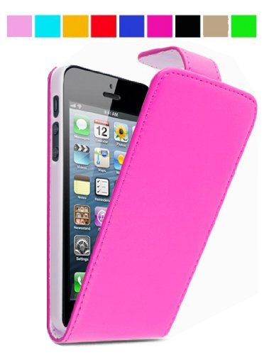 GadgetinBox? - New Synthetic Leather Flip Case For Apple iPhone 5 (Hot Pink)
