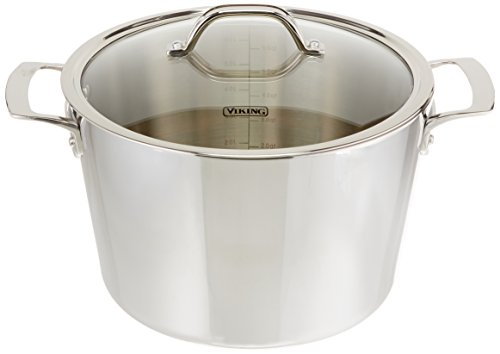 Viking Culinary Contemporary 3-Ply Stainless Steel Stock Pot with Lid, 8 Quart