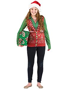 Ladies Ugly Christmas Faux Vest Shirt from Faux Real