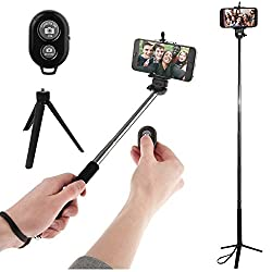 Paracops Self-Portrait Monopod Selfie Stand Stick with Adjustable Phone Holder and Bluetooth Wireless Remote Clicker + Mini Tripod Stand Mount For All Smartphones and Cameras
