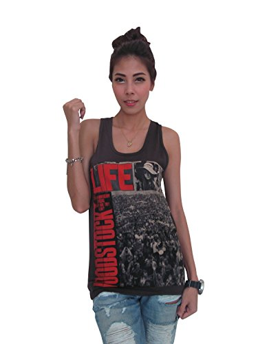 Bunny Brand Women's Woodstock 3 days of peace Music Festival T-Shirt Tank Top Black,Medium