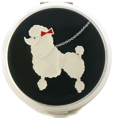 Lulu Guinness Poodle Silver-Plated Powder Compact Case by Stratton - For Loose or Pressed Powder