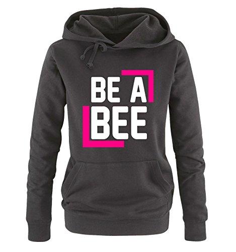 comedy-shirts-be-a-bee-damen-hoodie-schwarz-weiss-pink-gr-s