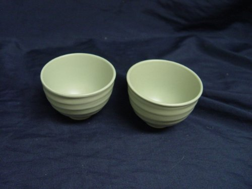 "Set Of 2 Sage Green Pottery Style Tea Bowls Cups 2 5/8"" Tall"