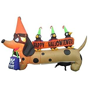 6FT LONG!! GEMMY HALLOWEEN DACHSHUND WEINER DOG AIRBLOWN INFLATABLE
