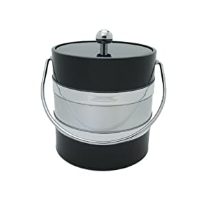 Mr. Ice Bucket 3-Quart Two Tone Ice Bucket, Black and Silver