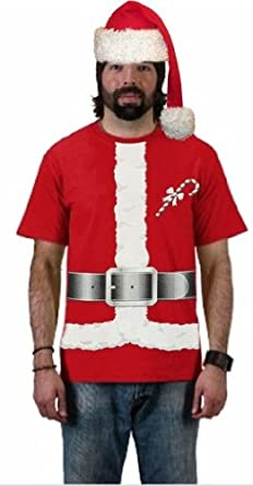 Santa Claus Christmas Costume T-Shirt #B138 (Mens Large, Red)