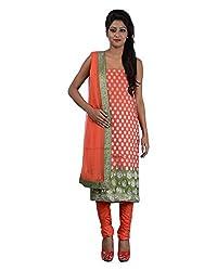 Mumtaz Sons Women's Cotton Unstitched Dress Material (MS111441B,Orange)