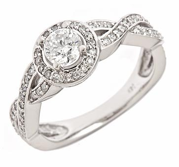 1.35 Ct Round Diamond Halo Engagement Ring Pave