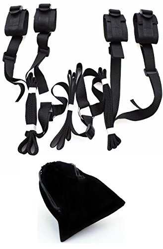 medical-bed-restraint-system-with-ankle-cuffs-fabric-bag-adjustable-under-mattress