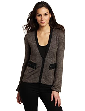 Kensie Women's Fine Gauge Knit Cardigan, Black Mix, Large