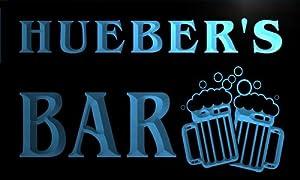 w039636-b HUEBER Name Home Bar Pub Beer Mugs Cheers Neon Light Sign Barlicht Neonlicht Lichtwerbung