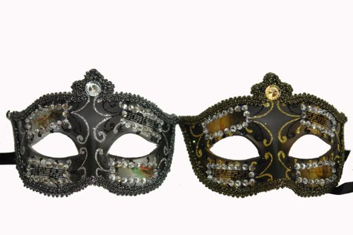 Fancy Black Venetian Style Costume Half Mask