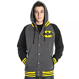 Batman Letterman Mens Gray Hoodie