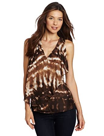 Anne Klein Women's Tie Dye Blouse, Brown/Beige, Large