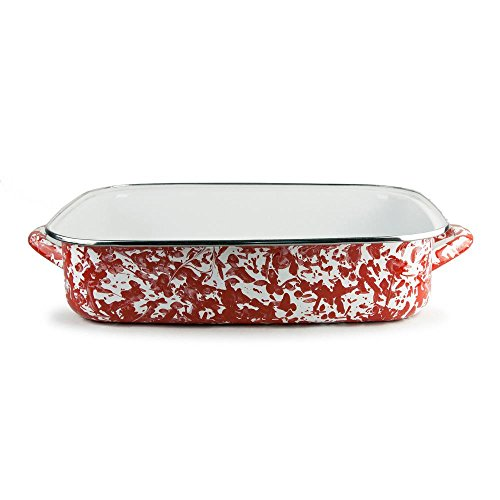 Golden Rabbit Enamelware Red Swirl Lasagna Pan with Swirl Glass Lid 10-1/2 Qt