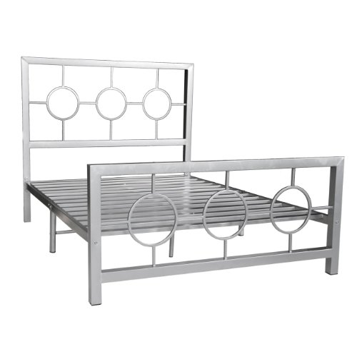 Simple Home Source Industries Queen Metal Bed Frame with Decorative Headboard and Footboard Silver