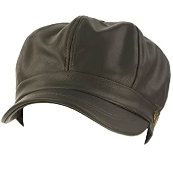 Amazon.com: Winter Fall Faux Leather 8 Panel Newsboy Driver Gatsby Cap