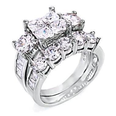 Vanessa: Stunning & Contemporary Womens Sterling Silver 8.15ct Russian Ice CZ Simulated Diamond Two Piece Bridal Wedding Ring Set (avail. sizes 4 to 11)