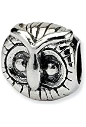 Reflections Sterling Silver Owl Head Bead / Charm